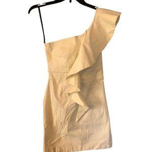 One Shoulder Ruffle Off-White Mini Dress Sz Small